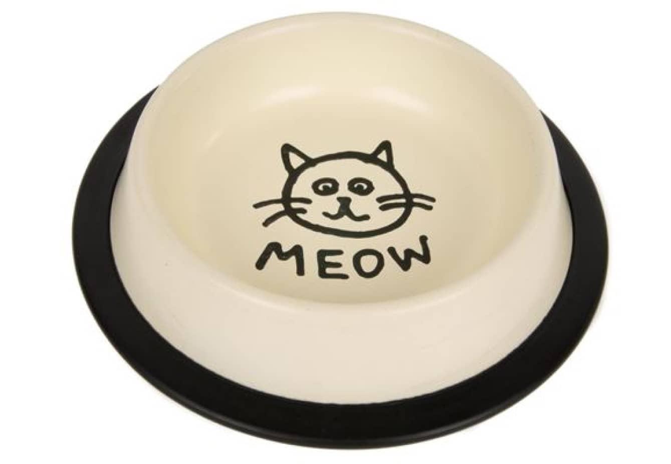 Chico Miska metalowa na gumie dla kota MEOW kremowa 0,47L