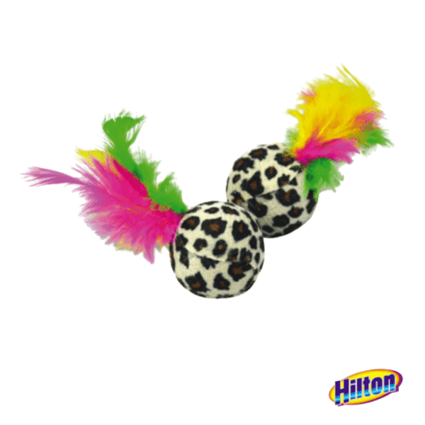 Hilton piłki z piórkami 4cm zabawka dla kota 2szt