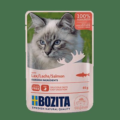 BOZITA kawałeczki mięsa w galaretce z łososiem dla kota saszetka 85g