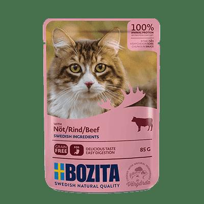 BOZITA kawałeczki mięsa w sosie z wołowiną dla kota saszetka 85g