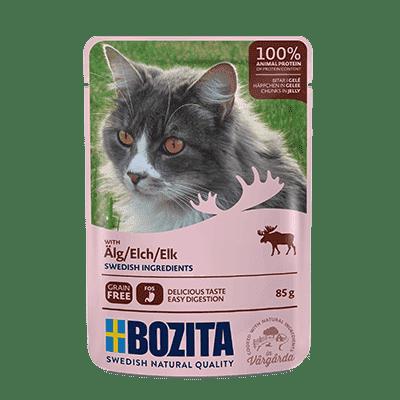 BOZITA kawałeczki mięsa w galaretce z łosiem dla kota saszetka 85g