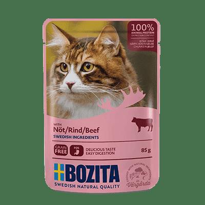 BOZITA kawałeczki mięsa w galaretce z wołowiną dla kota saszetka 85g